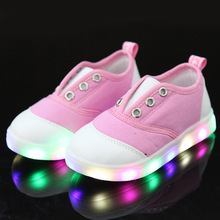 2016  children's shoes for girls Children canvas shoes Boys and girls baby shoes for boys whole LED Children lights shoes