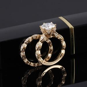 Image 5 - DovEggs anillo de oro amarillo y moissanita para mujer, sortija, oro de 14K, 585, 3CT, centro, 9mm, ancho de banda de 2,2mm, conjunto de anillos de compromiso con Detalles