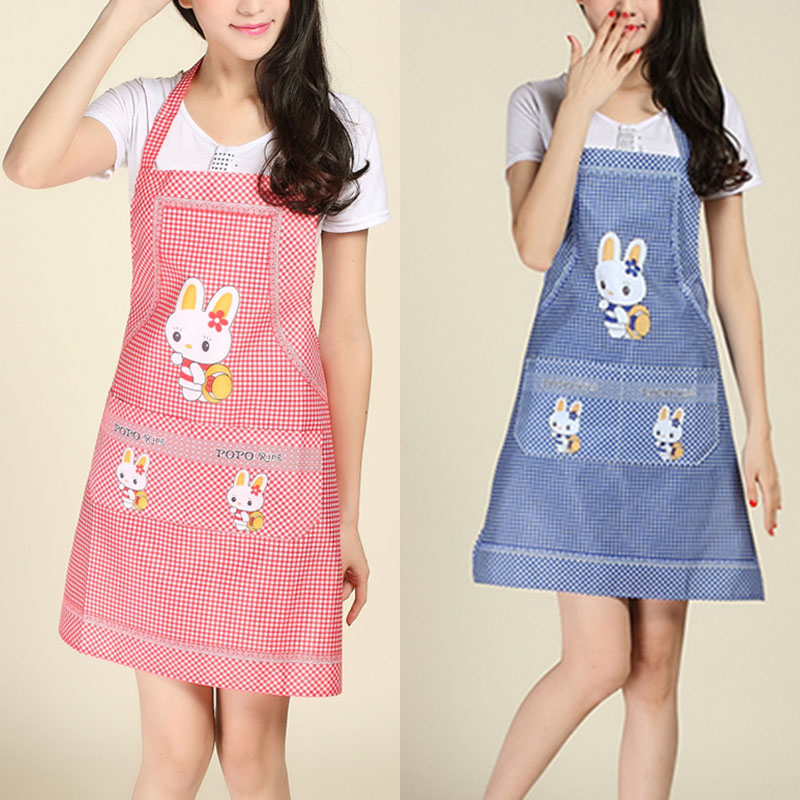 Cartoon Women Cooking Apron Rabbit Pattern Anti Dirt Kitchen Aprons Mothers Home Cleaning Tool Grembiule Da Cucina 7 Colors