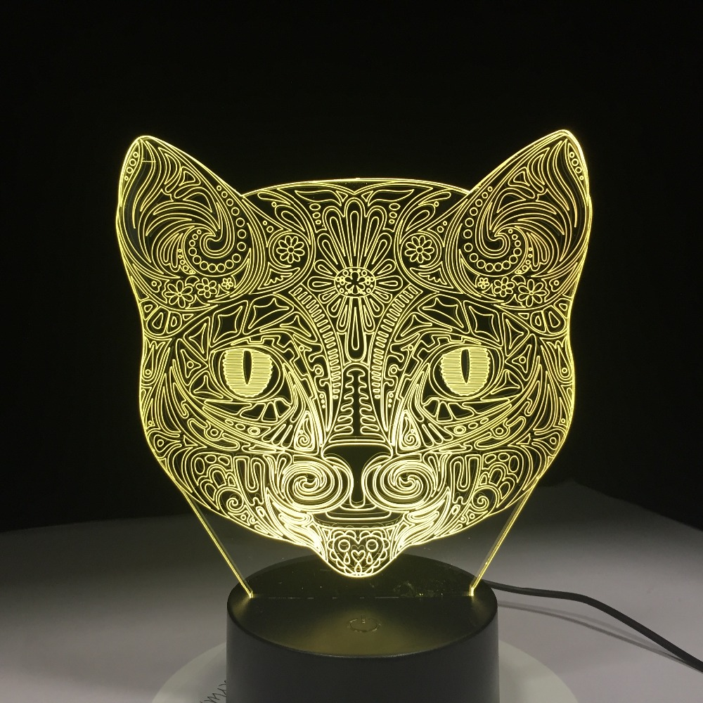 Cat Face 3D Visual Lamp Optical Illusion Led Night Light Amazing 7 Colors Art Cat Head Touch Sensitive Switch Lamp Drop Shipping
