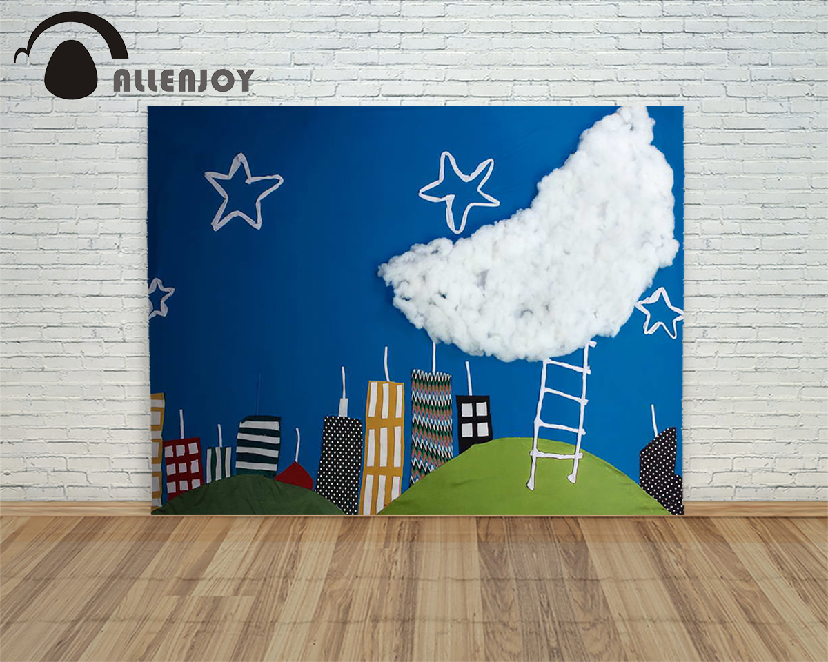 5ftx7ft newborns Photography Backdrop cartoon blue sky clouds moon star child fabric background for photography Allenjoy studio 5x7ft fabric backdrop photography background beautiful heart shape clouds