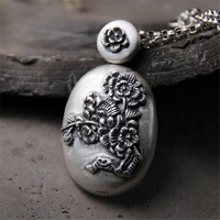 New Handmade Carved Vintage Pendant Fashion 990 Sterling Silver Peony Flowers Ethnic Jewelry Thai Silver Oval Necklace Pendants