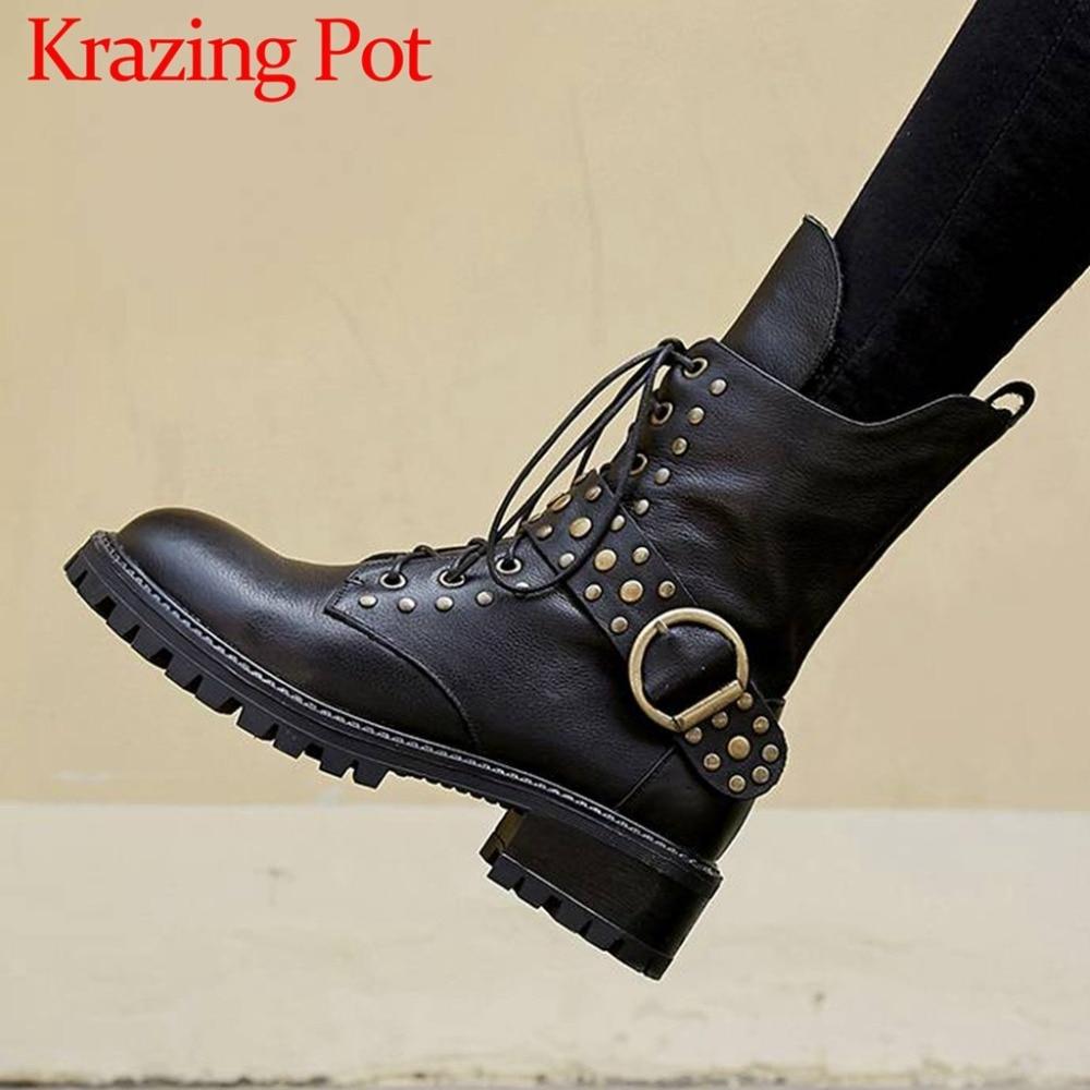 Handmade genuine leather handsome girls roud toe med square heels rivets studded buckle belt zip plus