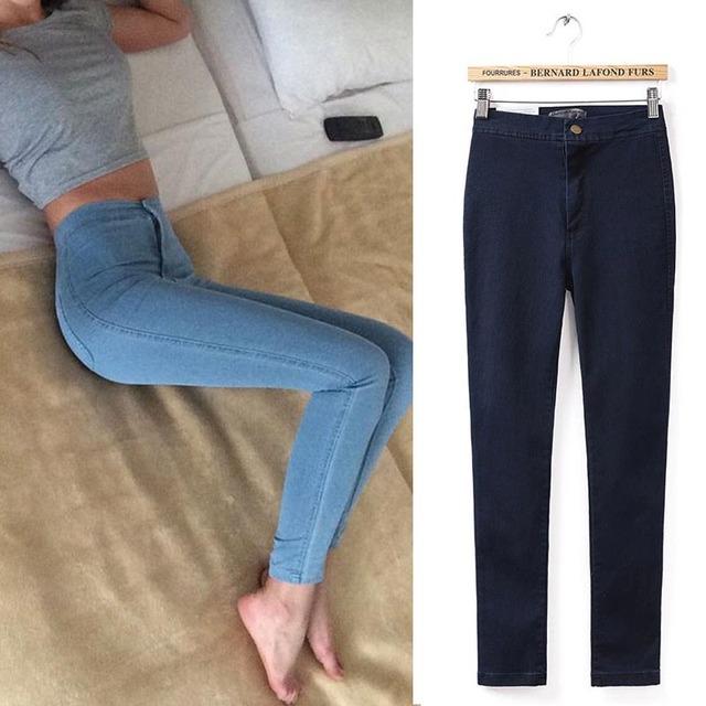 Jeans Skinny Mulher Simples Hight Cintura Cintura Fina Lápis Calças de Brim Das Mulheres Esticar Calças De Brim Femme Jean Taille Haute XS-XL