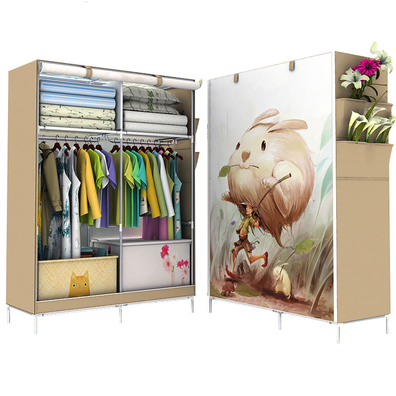 Minimalist Modern Non-woven Cloth Wardrobe Closet Folding Large Wardrobe DIY Reinforcement Clothing Storage Cabinet simple modern large speace wardrobe clothe storage cabinets folding non woven closet furniture wardrobe for bedroom