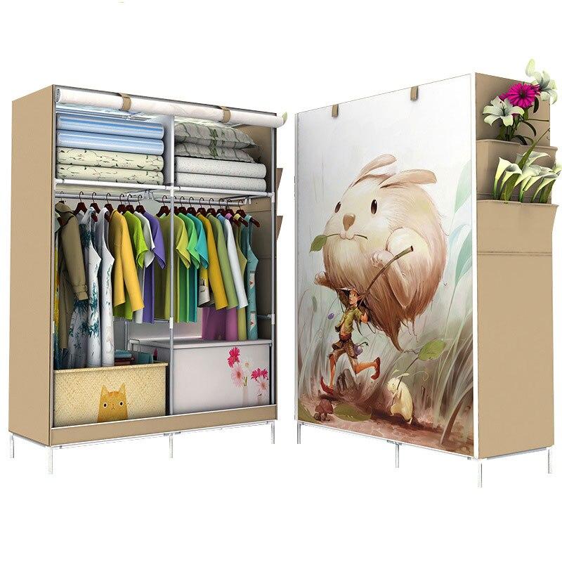 Minimalist Modern Non-woven Cloth Wardrobe Closet Folding Large Wardrobe DIY Reinforcement Clothing Storage Cabinet