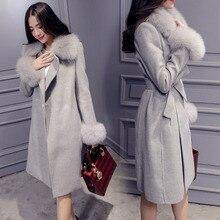 2019 Winter&Fall New Long Wool Coat Collar Detachable Fur Collar Female Slim Wool Blend Coat And Jacket Solid Women Coats