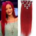 #Red clip in hair Brazilian remy virgin human hair16-22inch 7pcs set 70g hair extensions straight red color clip in human hair