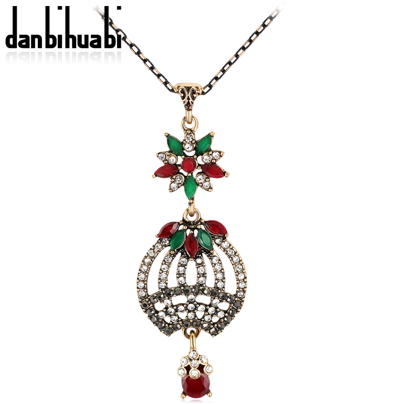 Newest Turkish Long Sweater Chain Big pumpkin Pendants for Women Luxurious Jewelry Royal Design Antique Gold Color Stones