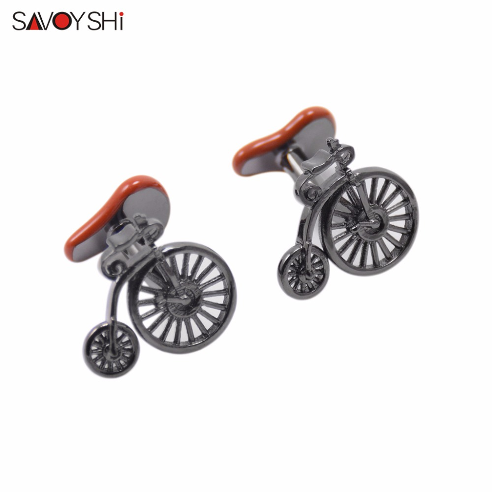 SAVOYSHI Brand Jewelry Fashion Design Novelty Bicycle Cufflinks for Mens Shirt Cuff buttons High Quality Brown Enamel Cufflinks