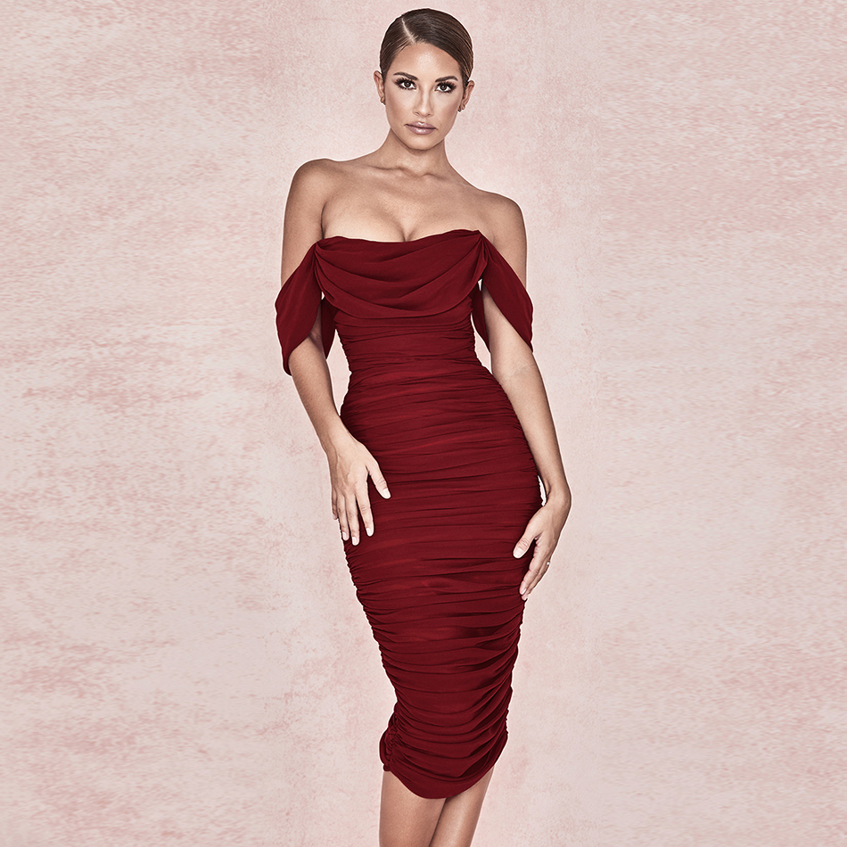 Off the Shoulder Slash Neck Ruched Middle Dress Women Short Sleeve Stretch Mesh Party Night Club