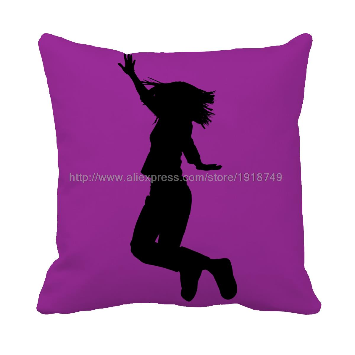 online get cheap purple throw pillow aliexpresscom  alibaba group - girl shadow jump printed custom purple cushion cover home sofa chair decorativethrow pillow case(