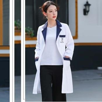 Women's Lab Coat Mock Wrap Doctor/nurse/beautician Jacket Medical Uniform Long Sleeves Notched Collar Nurse Dress