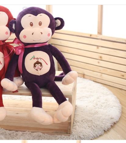 big new plush purple monkey toy creative ribbon bow monkey doll gift about 85cm