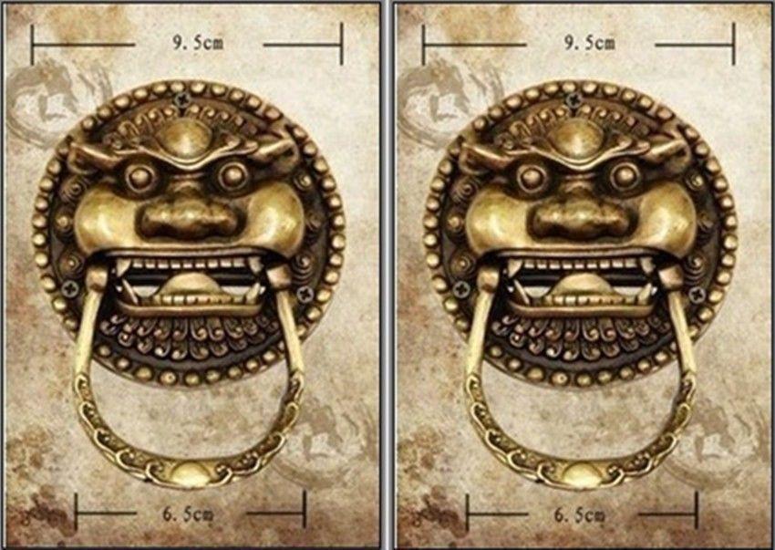 Artisanat en cuivre une paire de laiton chinois Foo chien Foo Lion heurtoir de porte