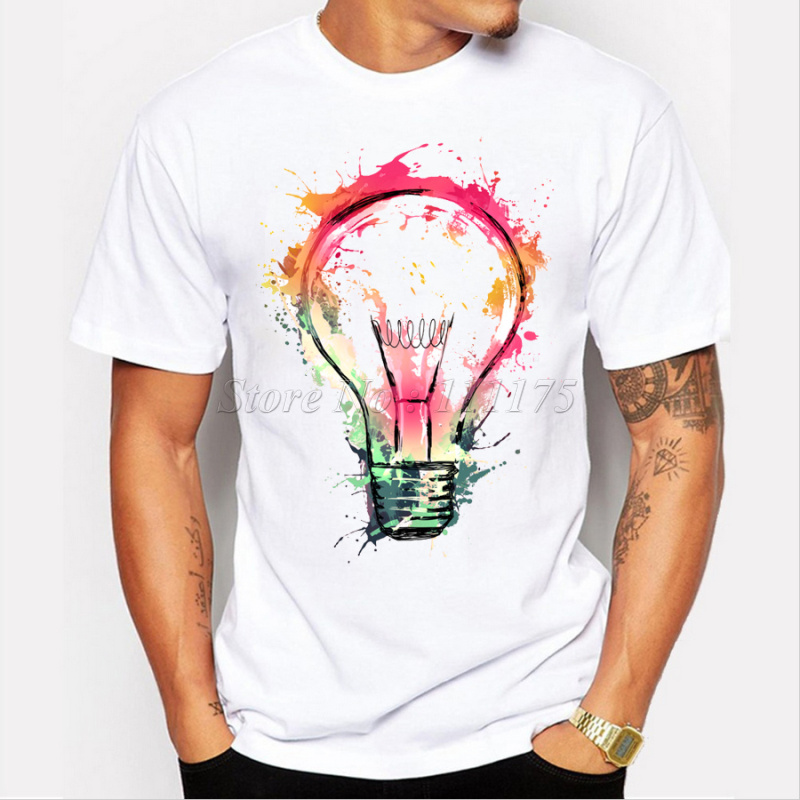 New Color Painted Bulb Design Men's T shirt Cool Fashion Tops ...