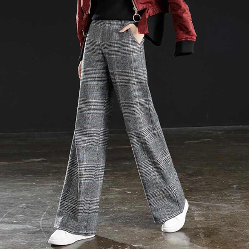 Women Wool Pant Female 4XL High waist Woolen Causal Winter Wide Leg Pants Loose Straight Long Female Plus Size Trousers Spring