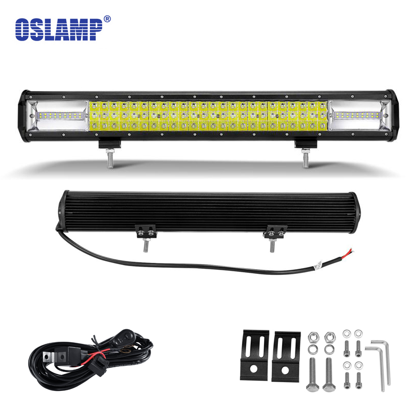 Oslamp 3-row 23inch 324W LED Work Light Bar Offroad Driving Lamp Combo Beam for Jeep Truck for Auto SUV ATV Tru tripcraft 108w led work light bar 6500k spot flood combo beam car light for offroad 4x4 truck suv atv 4wd driving lamp fog lamp