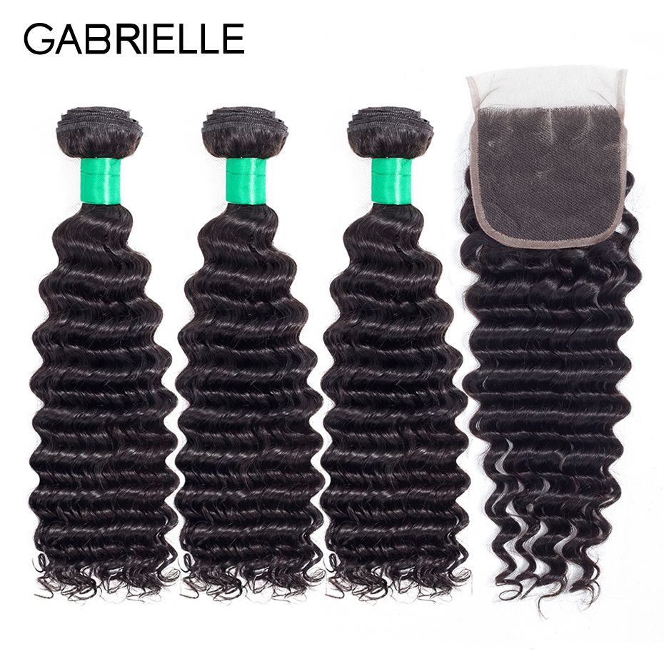 Gabrielle Hair Peruvian Deep Wave 3 Bundles with 4*4 Lace Closure Free/Middle/Three Part Natural Color Non-remy Human Hair Weave