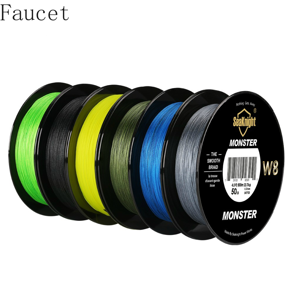 Faucet <font><b>Monster</b></font> <font><b>W8</b></font> 500m 8 Strands Braided Fishing Line Pe Multifilament Fishing Line 7 Colors 15-100lb braided fishing line image
