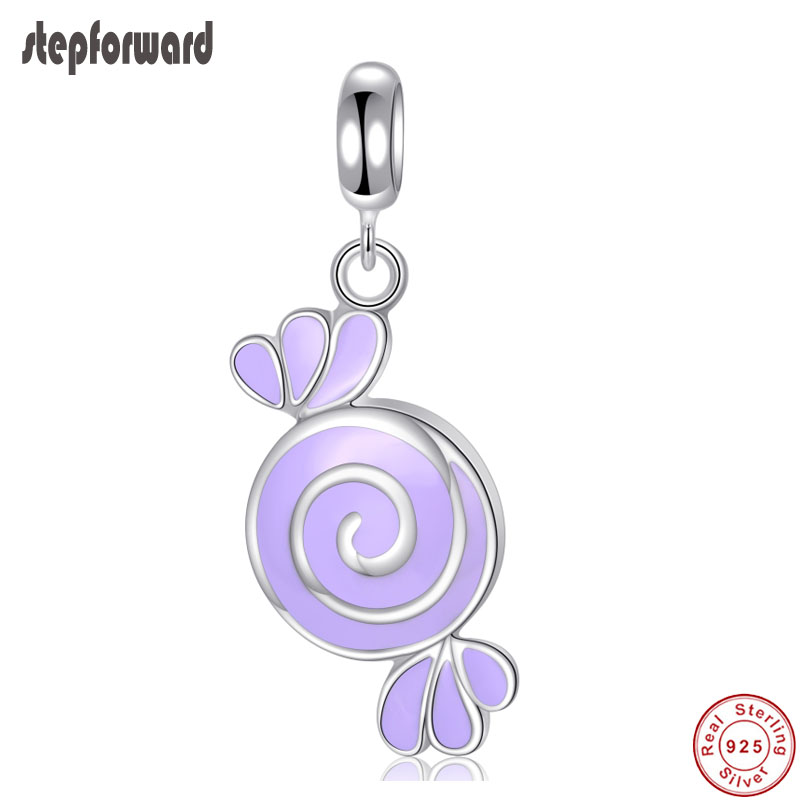 Top Quality DIY Purple Candy Enamel Design 925 Sterling Silver Lovely Candy Hanging Charm For Bracelet And Necklace in Charms from Jewelry Accessories