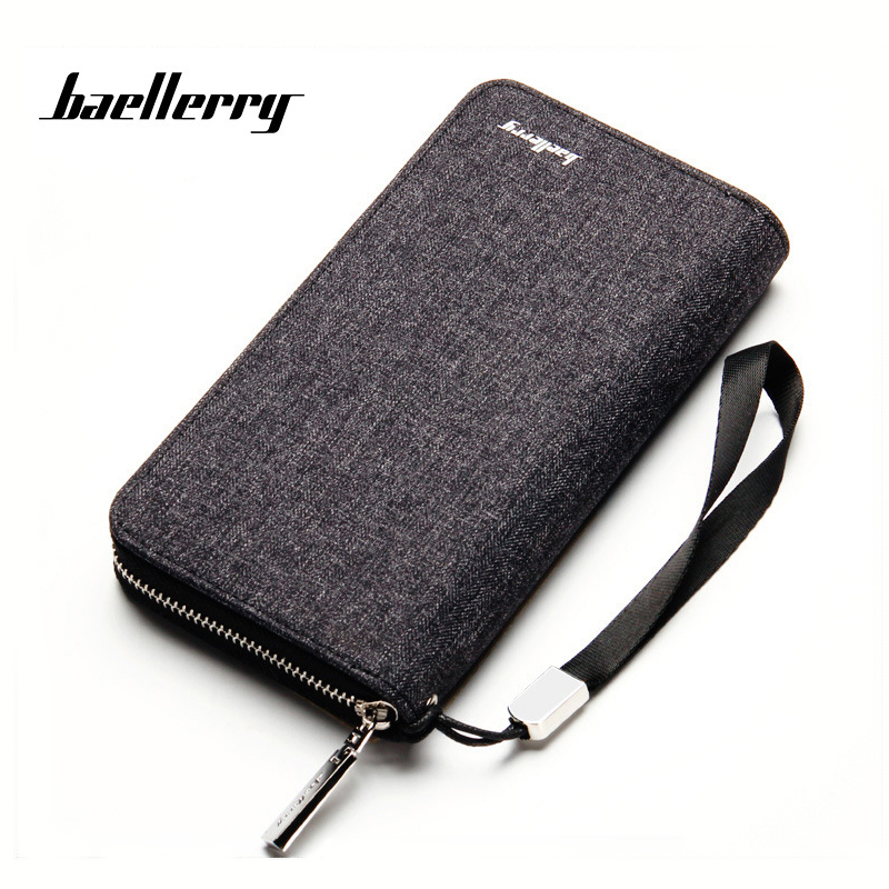 Casual Zipper Long Quality Mens Canvas Wallets clutch Bag Large Credit Card Holder Purse Capacity Multi-card Bits Mobile Wallet