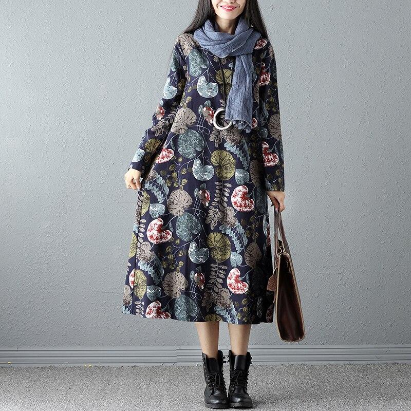 Spring Cotton Linen Print Women dress Ladies Long sleeve Casual Autumn Dresses vestidos vintage Plus size Women clothing SS257