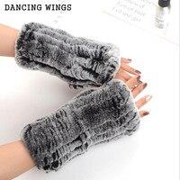 New Winter Women S Fur Gloves Real Genuine Knitted Rex Rabbit Fur Fingerless Gloves Mittens Arm