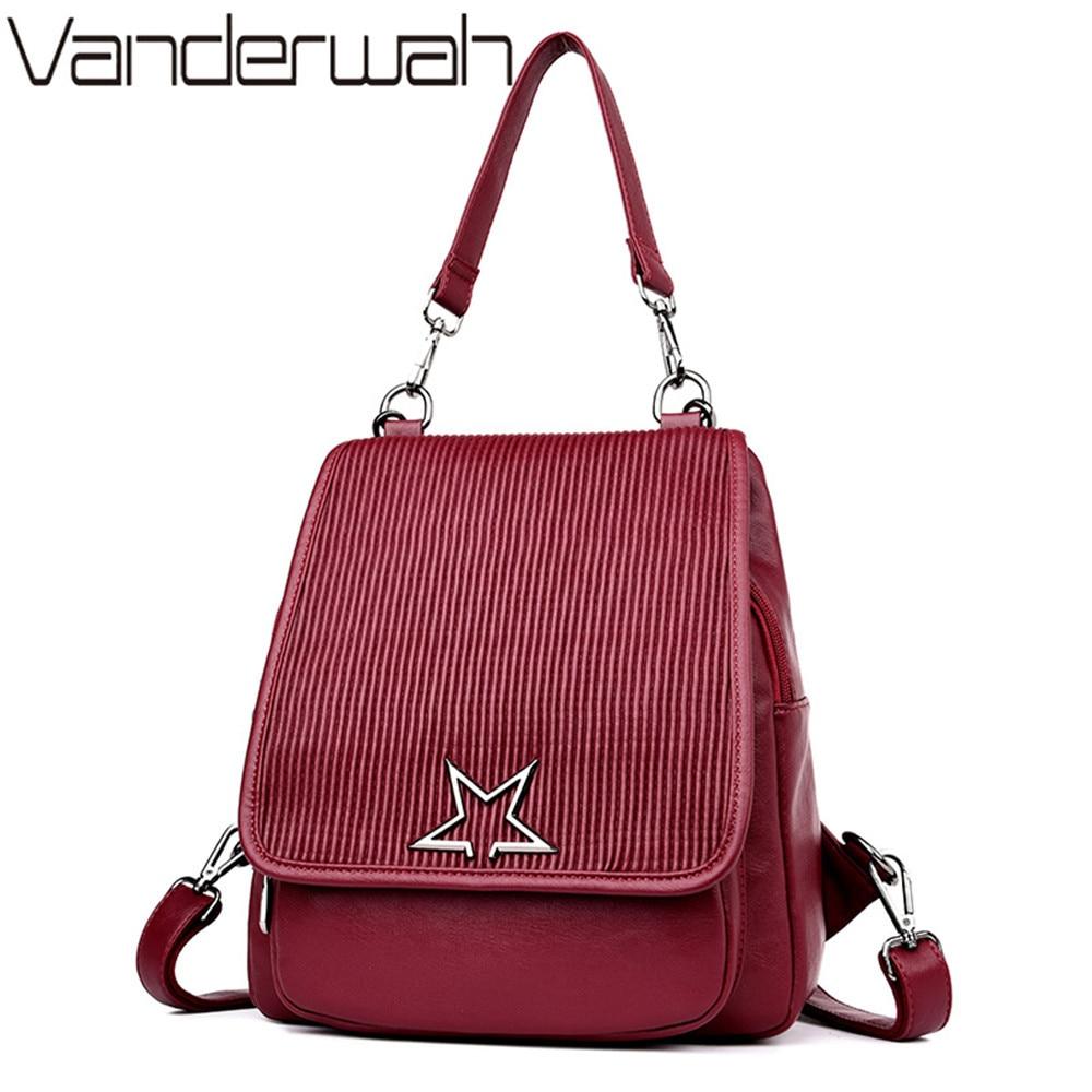 VANDERWAH Brand 2018 Solid High Quality Leather Backpack Women Designer School Bags For Teenagers Girls Luxury Women Backpacks