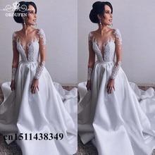 OKOUFEN Stunning White Wedding Dresses For Long Sleeves