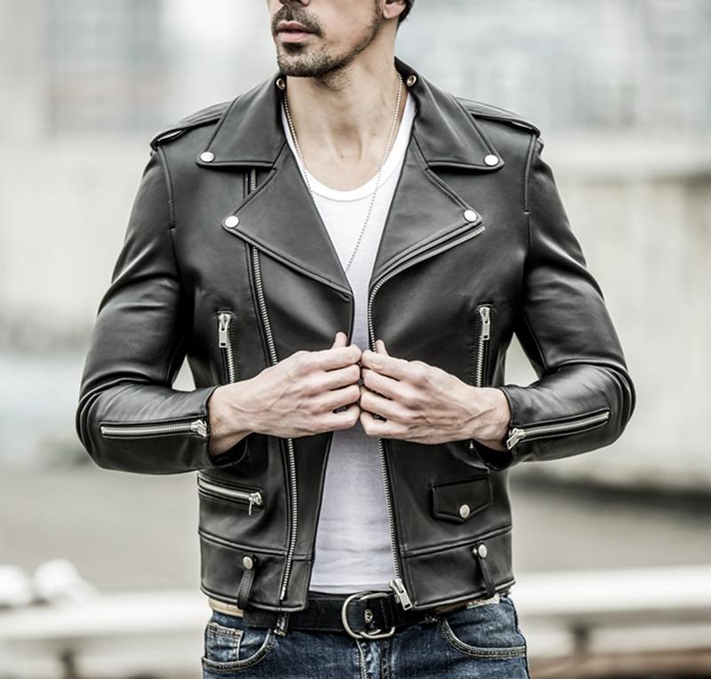 HTB1kioCacfrK1Rjy1Xdq6yemFXaG Free shipping.brand new black mens sheepskin jacket.classic biker soft genuine leather coat.fashion plus size style slim jackets