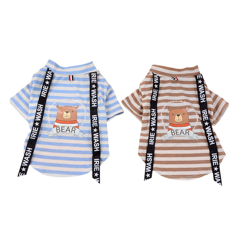 Hot Sale Summer Poodle Clothing T Shirt Cat Dog Stripe Clothes Pet Supplies Wholesale Pets Clothes For Small Cats Puppy Clothes