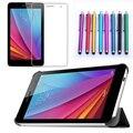 Nueva 2015 caja de la tableta cubierta del soporte de cuero para huawei t1 t1-701u 7 pulgadas + protector de pantalla + pen (8 Colores en la Acción)
