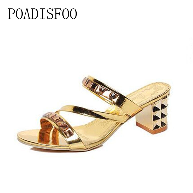 POADISFOO 2018 summer new women High heeled female sandals sexy fashion Rhinestone slippers for ladies .XL-026