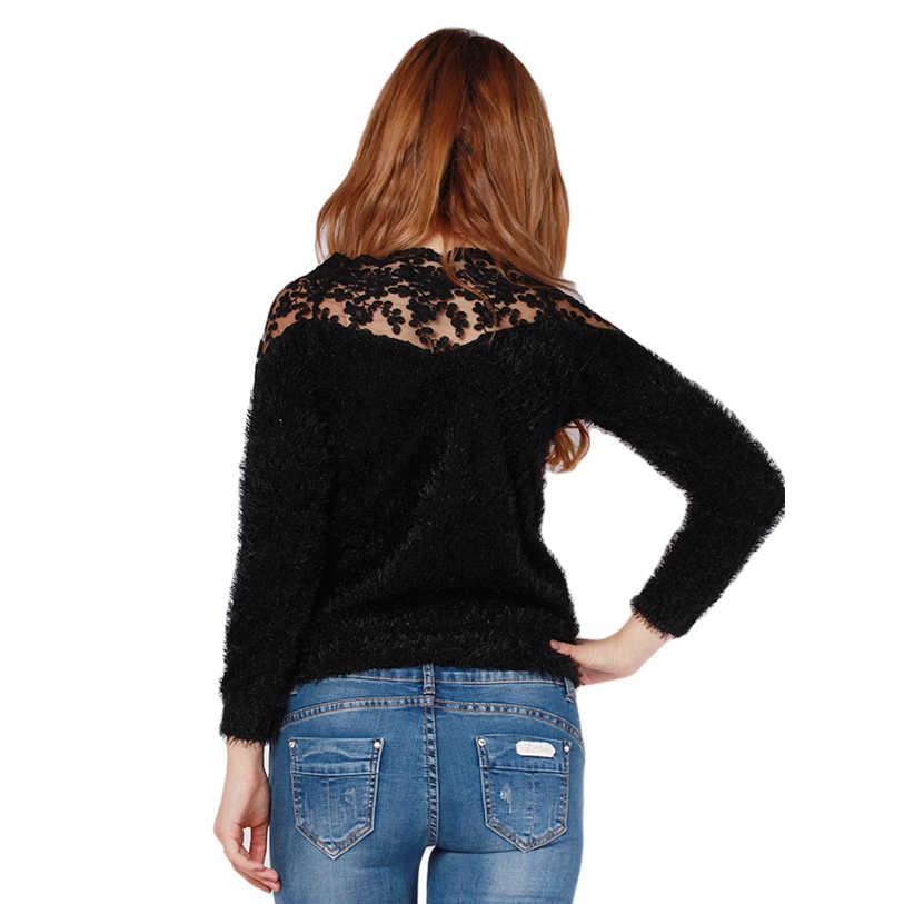 2018 새로운 여성 레이스 패치 워크 모헤어 스웨터 가을 겨울 섹시한 풀오버 캐주얼 블라우스 니트 스웨터 숙녀 탑스 iu852684