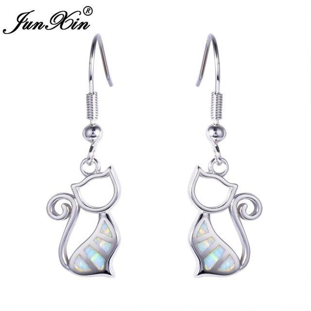 Junxin New Fashion White Opal Earring 925 Sterling Silver Filled Cat Earrings Double For Women