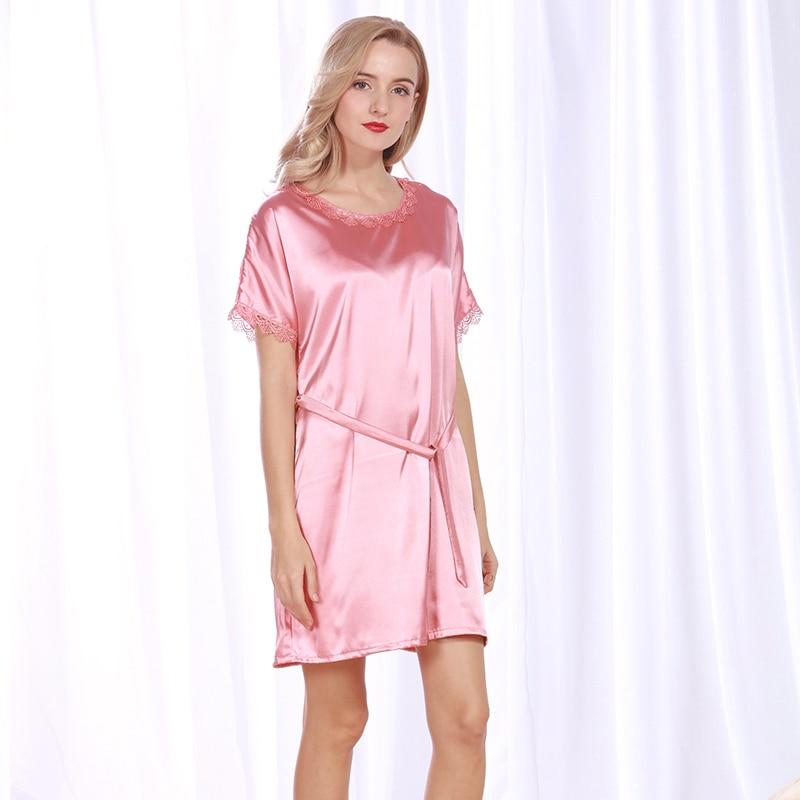 Ladies Sexy Silk Satin Nightgown Round Neck Sleepshirt Short Sleeve Sleeping Dress Lace Home Dress Summer Night Shirt For Women