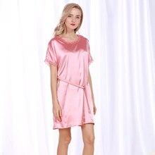 Ladies Sexy Silk Satin Nightgown Round Neck Sleepshirt Short Sleeve  Sleeping Dress Lace Home Dress Summer Night Shirt For Women 6c9035a95a7b