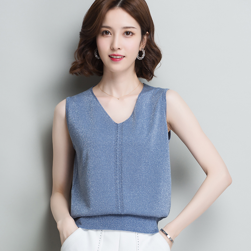 Blouse Crop-Top Glittering Vest Tank-Tops Top-V-Neck Camisole Knitting Casual Fashion