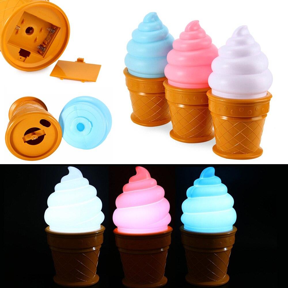Светодиодный Magic мороженое лампы привлекательный ночник для Для детей в форме конуса Т ...