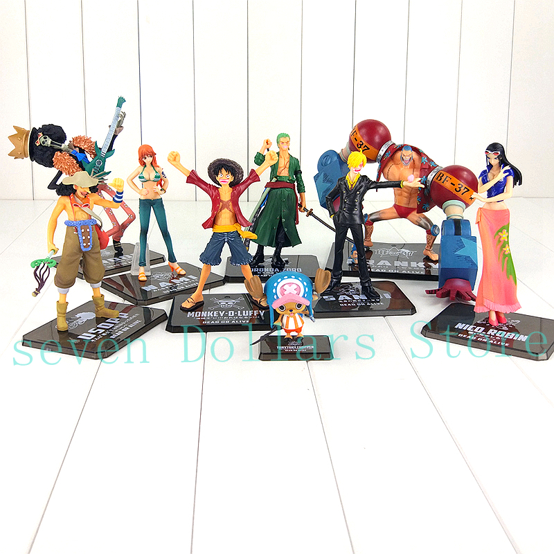 9Styles One Piece Figure Toys Luffy Nami Robin Chopper Zoro Sanji Brook Usopp Franky New World Cool Model Doll Collectible Toy free shipping japanese animation cool 5x one piece usopp sanji nami robin franky 14cm 16cm pvc figure set loose