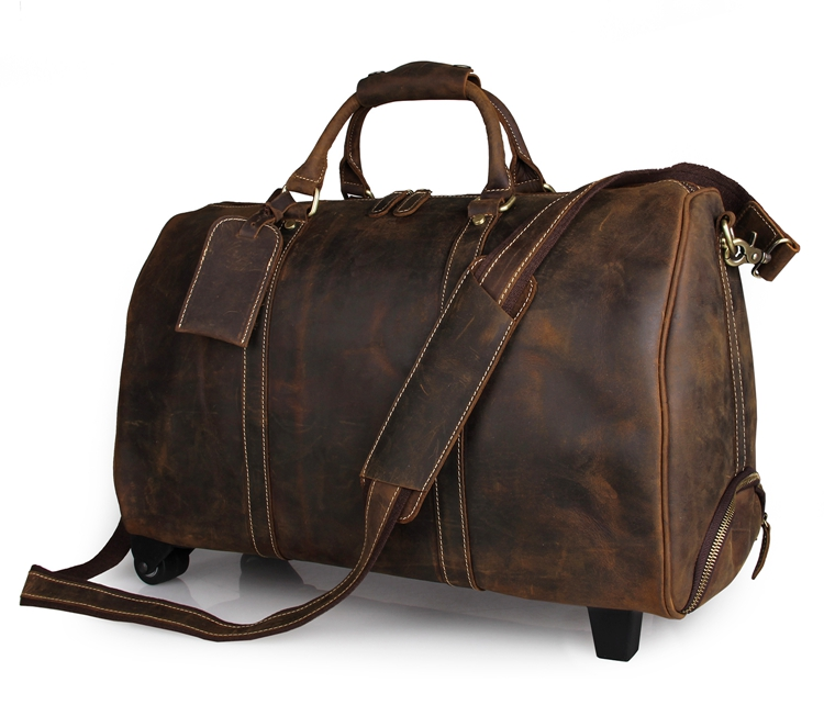 Dark Brown Crazy Horse Leather Travel Trolley Bag For Men Tote Luggage Bag 7077LR 7077r crazy horse leather unisex dark brown huge luggage bag tote bag travel bag