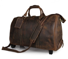 Free Ship Dark Brown Crazy Horse Leather Travel Trolley Bag For Men Tote Luggage # 7077LR
