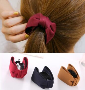 Korean Sweet Fabric Bow Hair Claw Elegant Women Solid Cloth Ties Banana Hair Crab Clips Ponytail Hold Girl Hair Accessories(China)