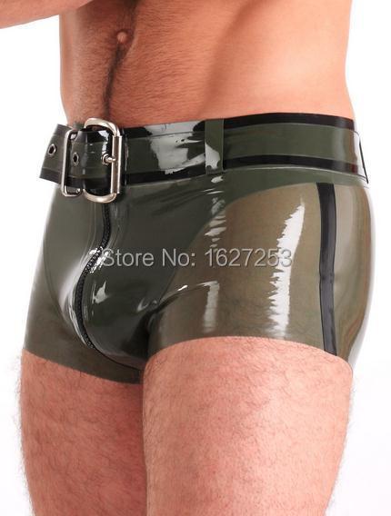 El Envío Gratuito! men underwear boxer cortos de goma de látex con cremallera frontal (no incluyendo la correa)