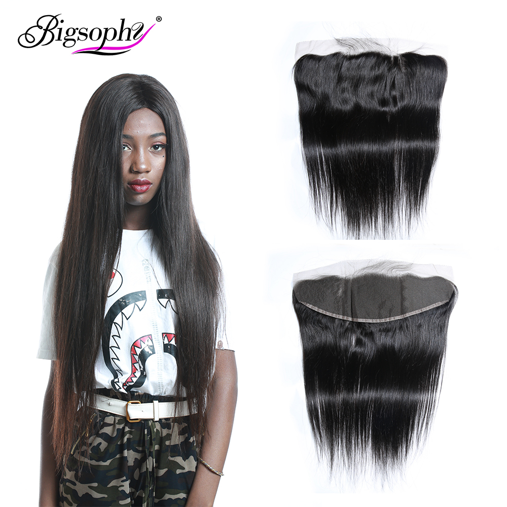 Bigsophy Hair Brazilian Straight Lace Frontal 100 Human Hair Lace Closure Remy 13x4 Lace Frontal Closure Human Hair Extension in Closures from Hair Extensions Wigs