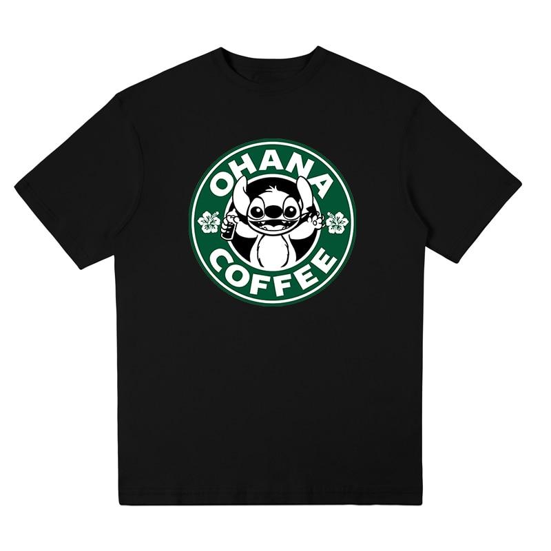 T shirt Lilo & Stitch Print T-shirt OHANA COFFEE Tee Shirt Style New 2018 Summer Cute Kawaii Men Harajuku Camisas Hombre
