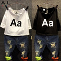 2016 Girls Clothing Set Kids autumn fashion t shirt + jeans suit Holes denim A letter Children's suits summer Europe NEXT