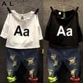 2016 Girls Clothing Set Kids autumn fashion t shirt + jeans suit Holes denim A letter Children's suits summer Europe NEXT