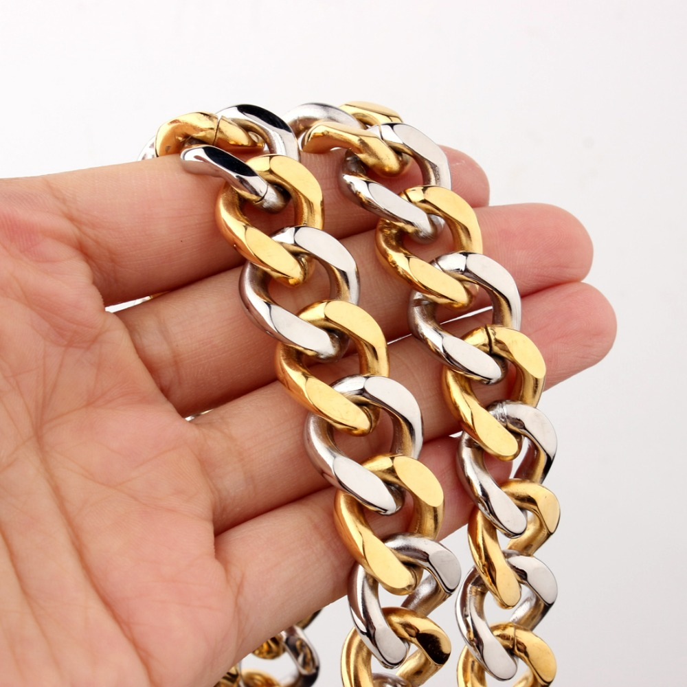 15mm Wide Perfect 2018 Stainless Steel Silver Gold Tone Curb Cuban Chain Men's Necklace Or Bracelet Bangle 7-40″ Customized Gift
